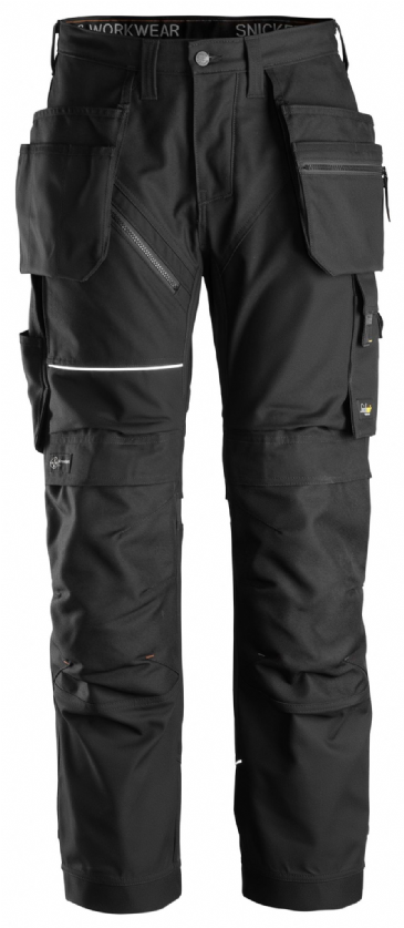 Snickers 6214 RuffWork Canvas+ Heavy Duty Work Trousers+ Holster Pockets (Black/Black)